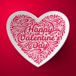 Valentines Day background with three dimensional heart shape. — Stock Vector