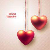 Three dimensional hanging hearts on light background. — Stock Vector