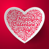 Valentines Day background with three dimensional heart shape. — Stock vektor