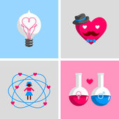 Love signs and symbols. — Stock Vector