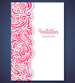 Wedding invitation card template with abstract pattern backgroun — Stockvector