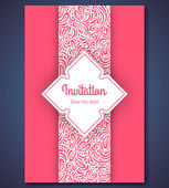Wedding invitation card template with abstract pattern backgroun — Vecteur