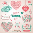 Happy valentines day and weeding design elements. — Vector de stock