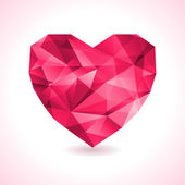 Pink origami heart on white backdrop with shadow — Stock Vector