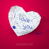 Papier hart met handgeschreven bericht op roze achtergrond met shado — Stockvector