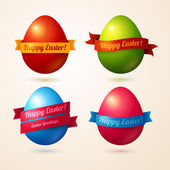 Vector eggs with colorful ribbons and place for your text. — Stock Vector