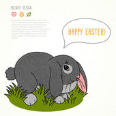 Easter bunny rabbit with Easter eggs. — Stock Vector