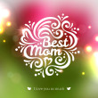Best Mom lettering Greeting Card. — Stock Vector