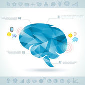 Brain silhouette with interface icons. — Stock Vector