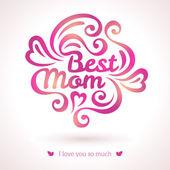 Best Mom lettering Greeting Card. — ストックベクタ