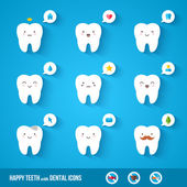 White teeth with flat dental icons. — Stock Vector