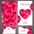 Wedding invitation cards template with abstract polygonal heart. — Stock Vector #44990893