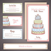 Wedding invitation cards in pastel colors. — Stock Vector