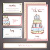 Svatební pozvání karet v pastelových barvách. — Stock vektor