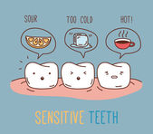 Comics about sensitive teeth. — Stockvector
