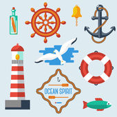 Nautical and marine icons. — Stock Vector