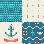 Navy vector seamless patterns se — Stock Vector