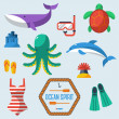 Sea objects collection. — Stock Vector #48299207