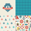 Seamless patterns of marine symbols and label. — Stock Vector #48299265