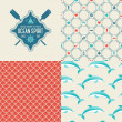 Seamless patterns of marine symbols and label. — Stock Vector #48299295