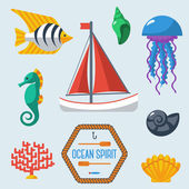 Sea objects collection. — Stock Vector