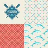 Seamless patterns of marine symbols and label. — Stock Vector