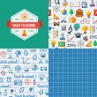 Back to school seamless patterns. — Stock Vector