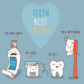 Teeth best friends - tooth past, tooth brush and floss.  — Vector de stock