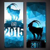 Banners set with geometric pattern goat. — Stockvektor