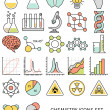 Flat line icons set of chemistry symbols and objects. — Vecteur #51220165