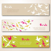 Banners with flying birds silhouettes. — Stok Vektör