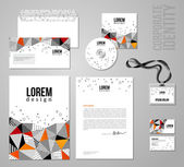 Corporate identity template in patch work colorful style. — Stockvector