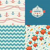 Seamless patterns of marine symbols and label in vintage style. — Stockvektor