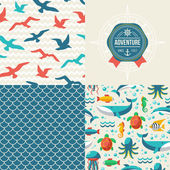 Seamless patterns of marine symbols and label in vintage style. — Stock Vector