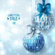 Christmas sale - Blue Christmas baubles on light background. — Stock Vector #51643999