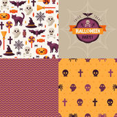 Seamless patterns of Halloween symbols and label. — Stockvektor