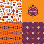 Seamless patterns of Halloween symbols and label. — Stockvector