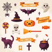 Set of Halloween ribbons and characters. — Stock Vector