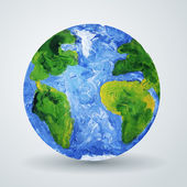 Earth planet painted in oil. — Stock Vector