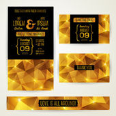 Wedding invitation cards template with abstract polygonal gold b — Stock Vector