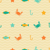 Seamless patterns of marine symbols. — Stockvektor