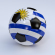 Soccer ball with Uruguay flag — Stock Photo