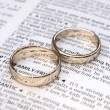 Couple of gold wedding rings on a dictionary page showing love definition — Stock Photo
