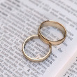 Stock Photo: Couple of gold wedding rings on dictionary page showing love definition