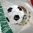 Mexican waving flag and soccer ball in goal net — Stock Photo