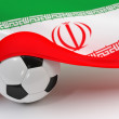 Iran flag with championship soccer ball — Stock Photo