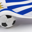 Uruguay flag with championship soccer ball — Stockfoto