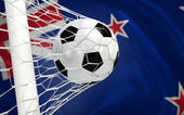 New Zealand waving flag and soccer ball in goal net — Stock Photo