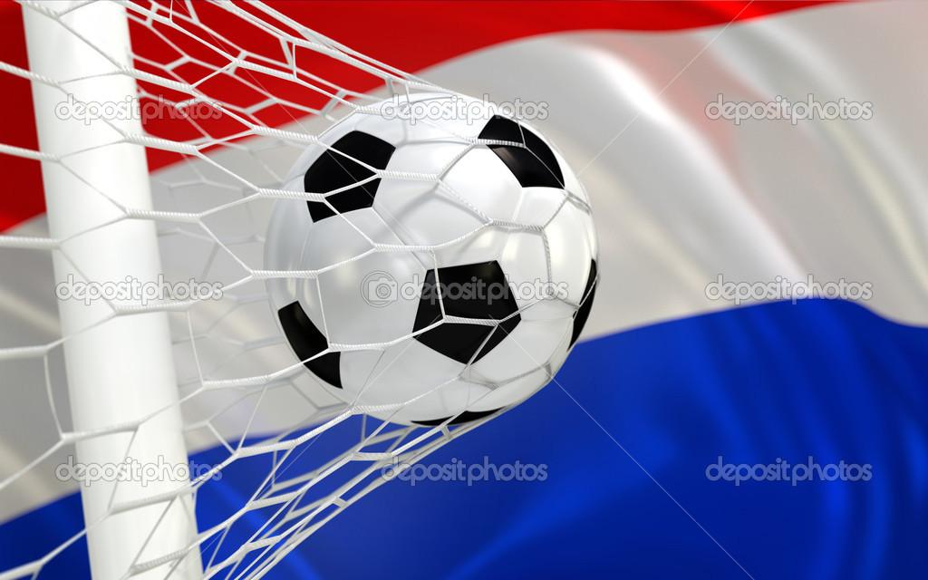 Netherlands Flag Waving Netherlands Flag And Soccer