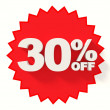 Red star with 30 percent sale sign — Stock Photo